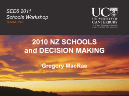 2010 NZ SCHOOLS and DECISION MAKING