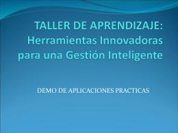TALLER DE APRENDIZAJE: Herramientas Innovadoras para …