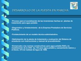 DESARROLLO DE LA PUESTA EN MARCHA