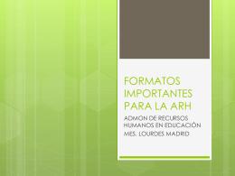 FORMATOS IMPORTANTES PARA LA ARH