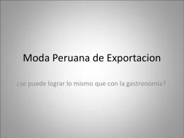 Moda Peruana de Exportacion