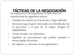 TACTICAS DE LA NEGOCIACION
