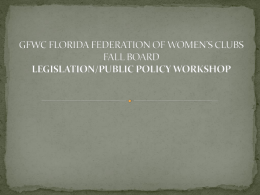 GFWC FLORIDA FEDERATION OF WOMEN'S CLUBS FALL …