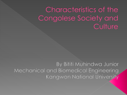 Characteristics of the Congolese Society and Culture