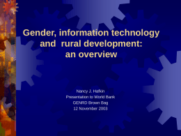 Issues in gender, information technology and development:
