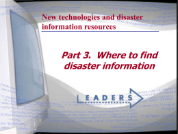 New technologies and disaster information resources