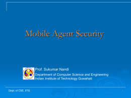 Mobile Agent Security - Indian Institute of Technology