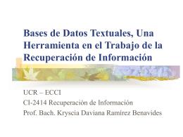 Bases de Datos Textuales, Una Herramienta en el Trabajo …