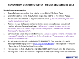 FECHA RENOVACION DE CREDITO ICETEX PRIMER …