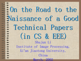 On the Road to the Naissance of a Good Technical Papers