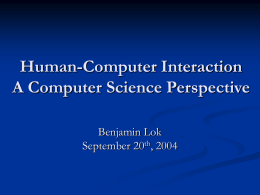 Human-Computer Interaction A Computer Science …