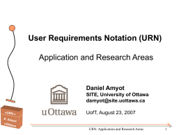 User Requirements Notation (URN) Application and …