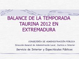BALANCE DE LA TEMPORADA TAURINA 2010 EN …