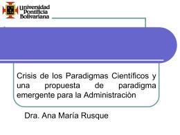 Crisis de los Paradigmas. - Universidad Pontificia Bolivariana