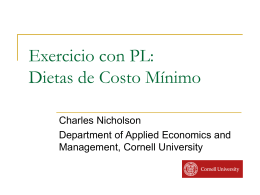 Exercise with LP: Minimum Cost Diet