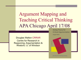 Argument Mapping and Teaching Critical Thinking