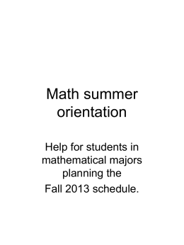 Math summer orientation - Mathematics | Illinois