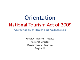 National Tourism Act 2009 RA 9593