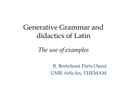 The Generative Grammar and the didactic of the latin …