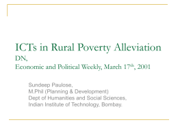 ICTs in Rural Poverty Alleviation DN, Economic and