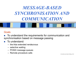 MESSAGE-BASED SYNCHRONISATION AND …