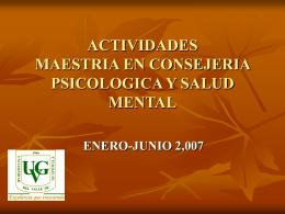 ACTIVIDADES MAESTRIA EN CONSEJERIA PSICOLOGICA Y …
