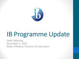 IB Training Update