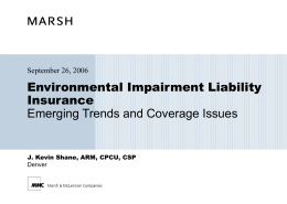 Environmental Impairment Liability Insurance Emerging