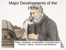 Technological Developments of the 1920s