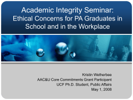 Academic Integrity Seminar: Ethics and Public …