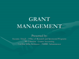 GRANTS MANAGEMENT ORIENTATION