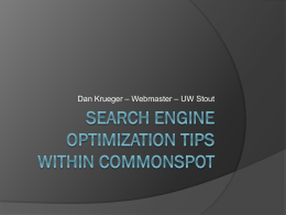 Search engine optimization tips within commonspot