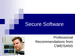 Secure Software - Computer Science