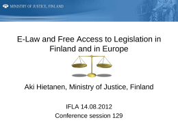 E-Law and Free Access to Legislation