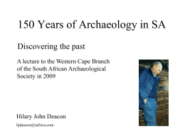 150 years of Archaeology in SA:
