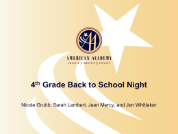 5th Grade Back to School Night
