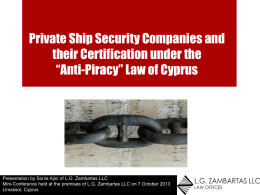 Private Ship Security Companies and their Certification