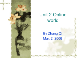 Unit 1 Online World