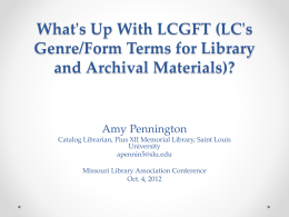 What's Up With LCGFT (LC's Genre/Form Terms for Library