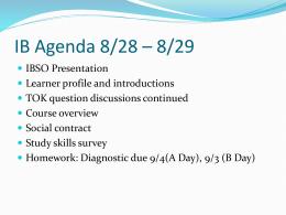 IB Agenda 8/26