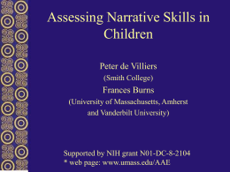 Assessing Narrative - University of Massachusetts Amherst