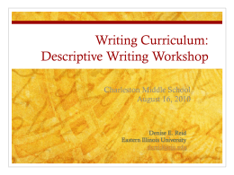 Writing Curriculum Workshop
