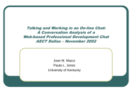 Conversation Analysis - University of Kentucky