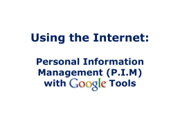 Personal Information Management (P.I.M)