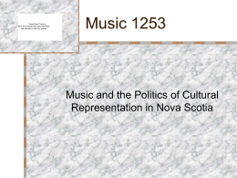 Music 1253 - Acadia University