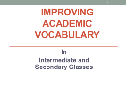 Dynamic Vocabulary Instruction in Secondary Classrooms