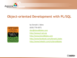 Object-oriented Development with PL/SQL