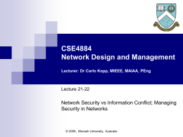 CSE5806 Telecommunications Management Lecturer: Dr …