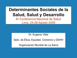 Determinantes Sociales de la Salud, Salud y Desarrollo