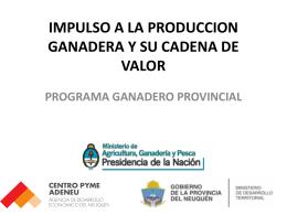 IMPULSO A LA PRODUCCION GANADERA Y SU CADENA …